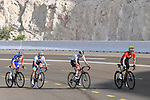 The lead group race leader Adam Yates (GBR) Mitchelton-Scott, Tadej Pogacar (SLO) UAE Team Emirates, Alexey Lutsenko (KAZ) Astana Pro Team and David Gaudu (FRA) Groupama-FDJ climb Jebel Hafeet during Stage 5 the Al Ain Water Stage of the UAE Tour 2020 running 162km from Al Ain to Jebel Hafeet, Dubai. 27th February 2020.<br /> Picture: LaPresse/Fabio Ferrari | Cyclefile<br /> <br /> All photos usage must carry mandatory copyright credit (© Cyclefile | LaPresse/Fabio Ferrari)