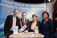 NO FEE PICTURES.25/1/13 Maureen Ledwith, Director Holiday World, Lord Mayor of Dublin is Naoise Ó Muirí and Clare Dunne, President ITAA with Jason Whelan, Multitrip at the Holiday World Show at the RDS, Dublin. Picture:Arthur Carron/Collins