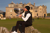 3rd October 2021; The Old Course, St Andrews Links, Fife, Scotland; European Tour, Alfred Dunhill Links Championship, Fourth round; Danny Willett of England kisses the Alfred Dunhill Links Championship trophy after his win on the Old Course, St Andrews
