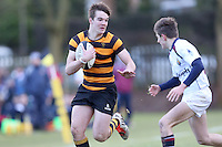 RBAI vs R S ARMAGH | Saturday 21st February 2015<br /> <br /> Joe Finnegan on the attack during 2015 Ulster Schools Cup Quarter-Final between RBAI and Royal School Armagh at Osborne Park, Belfast, Northern Ireland.<br /> <br /> Picture credit: John Dickson / DICKSONDIGITAL