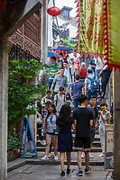 Suzhou, Jiangsu, China.  Shantang Street Ascending Bridge over a Canal.