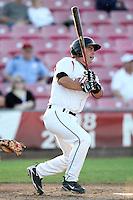 Salem-Keizer Volcanoes designated hitter Mike Murray #25 bats against the Spokane Indians at Volcanoes Stadium on August 10, 2011 in Salem-Keizer,Oregon. Salem-Keizer defeated Spokane 7-6.(Larry Goren/Four Seam Images)