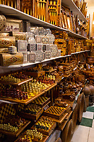 Marrakesh, Morocco.  Souk Shop Selling Souvenir Boxes and Chess Sets.