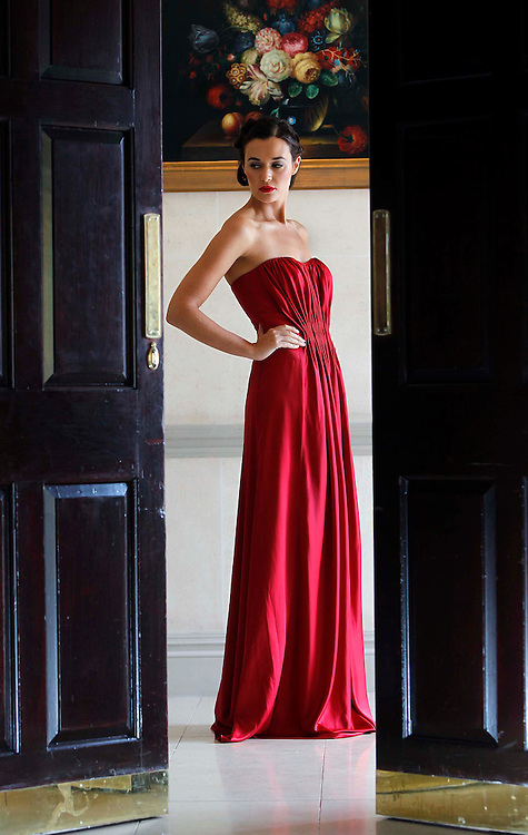 .Pictured at the Littlewoods Ireland Autumn Winter 2010 preview is Caoilinn wearing a ruby red draped gown.This collection will be available from June 26th at www.littlewoodsireland.ie. Pic Robbie Reynolds CPR
