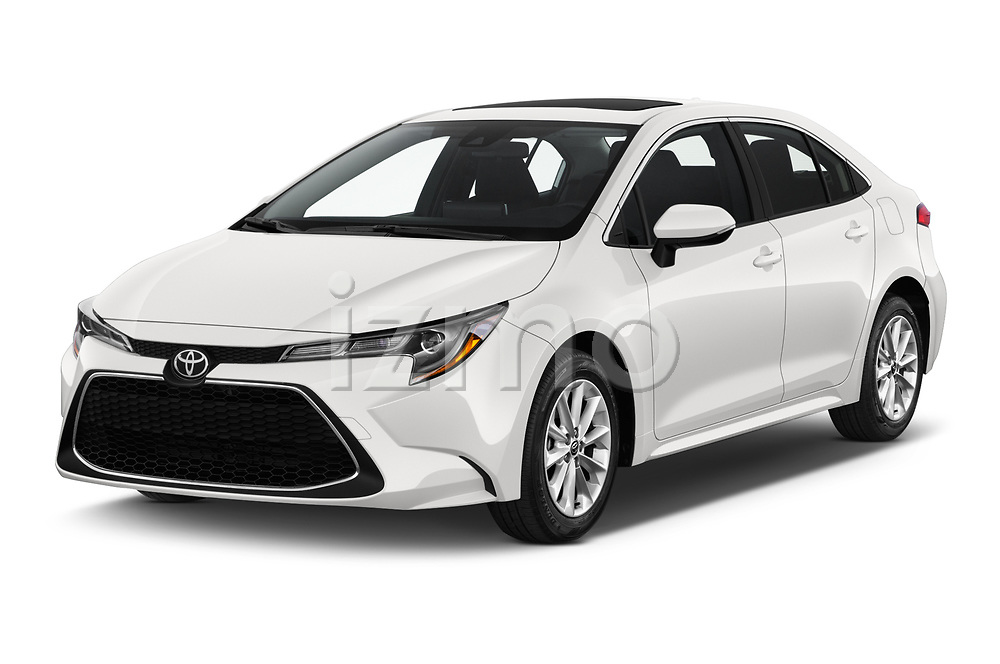 2020 Toyota Corolla XLE 4 Door Sedan angular front stock photos of front three quarter view