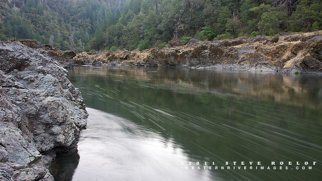 An almost free-flowing Rogue River on its first morning unimpeded by the Gold Ray Dam.