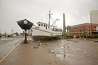 Hurricane Ike, Galveston, Texas damage. A fishing boat comes to rest in the parking lot near Fisherman's Wharf in Galveston, Texas following Hurricane Ike.