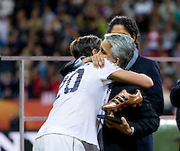 Abby Wambach, Sunil Gulati.  Japan won the FIFA Women's World Cup on penalty kicks after tying the United States, 2-2, in extra time at FIFA Women's World Cup Stadium in Frankfurt Germany.