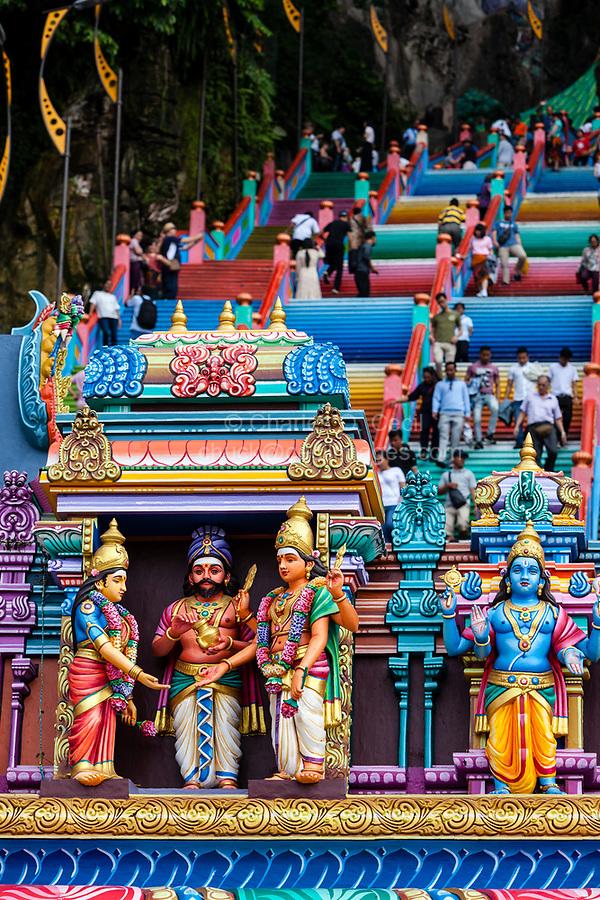 Batu Caves, Hindu Deities above Entrance to Steps leading to Caves, Selangor, Malaysia.