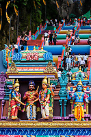 Batu Caves, Hindu Deities above Entrance to Steps leading to Caves, Selangor, Malaysia.