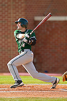Nick Camastro #4 of the Manhattan Jaspers follows through on his swing against the High Point Panthers at Willard Stadium on March 9, 2012 in High Point, North Carolina.  The Panthers defeated the Jaspers 11-6.  (Brian Westerholt/Four Seam Images)