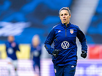 SOLNA, SWEDEN - APRIL 10: Carli Lloyd #10 of the USWNT warms up before a game between Sweden and USWNT at Friends Arena on April 10, 2021 in Solna, Sweden.