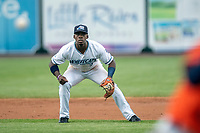 West Michigan Whitecaps second baseman Jeremiah Burks (7) on defense against the Bowling Green Hot Rods on May 21, 2019 at Fifth Third Ballpark in Grand Rapids, Michigan. The Whitecaps defeated the Hot Rods 4-3.  (Andrew Woolley/Four Seam Images)