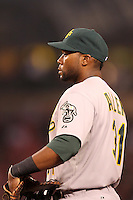 Oakland Athletics first baseman Brandon Allen #31 during a game against the Los Angeles Angels at Angel Stadium on September 24, 2011 in Anaheim,California. Los Angeles defeated Oakland 4-2.(Larry Goren/Four Seam Images)