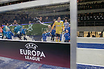 Hertha Berlin 1 Sporting Lisbon 0, 16/12/2010. Olympic Stadium, Europa League. The two team emerging from the dressing rooms before Hertha Berlin (blue) take on Sporting Lisbon in the Olympic Stadium in Berlin in a UEFA Europa League group match. Hertha won the match by 1 goal to nil to press to the knock-out round of the cup. 2009/10 was the the first year in which the Europa League replaced the UEFA Cup in European football competition. Photo by Colin McPherson.