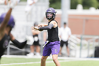Fayetteville quarterback Bladen Fike passes, Thursday, July 15, 2021 during the Southwest Elite 7on7 tournament at Shiloh Christian in Springdale. Check out nwaonline.com/210716Daily/ for today's photo gallery. <br /> (NWA Democrat-Gazette/Charlie Kaijo)