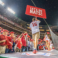 13 October 2016: Members of the Washington Nationals Nat Pack get the fans excited prior to the first pitch of Game 5 of the NLDS against the Los Angeles Dodgers at Nationals Park in Washington, DC. The Dodgers edged out the Nationals 4-3, to take Game 5 of the Series, 3 games to 2, and move on to the National League Championship Series against the Chicago Cubs. Mandatory Credit: Ed Wolfstein Photo *** RAW (NEF) Image File Available ***