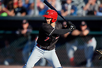 Batavia Muckdogs designated hitter Michael Donadio (7) at bat during a game against the Auburn Doubledays on June 15, 2018 at Falcon Park in Auburn, New York.  Auburn defeated Batavia 5-1.  (Mike Janes/Four Seam Images)