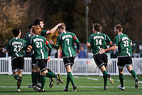 Andrew Olsen (7) of the Dartmouth Big Green celebrates scoring with teammates. Dartmouth defeated Monmouth 4-0 during the first round of the 2010 NCAA Division 1 Men's Soccer Championship on the Great Lawn of Monmouth University in West Long Branch, NJ, on November 18, 2010.