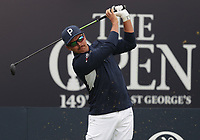 13th July 2021; The Royal St. George's Golf Club, Sandwich, Kent, England; The 149th Open Golf Championship, practice day; Ricky Fowler (USA) hits his tee shot on the 1st hole