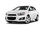 Stock pictures of low aggressive front three quarter view of 2016 Chevrolet Sonic LTZ 4 Door Sedan Low Aggressive