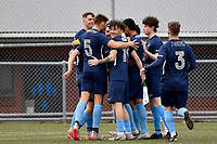Gavin Hoy of the North Wellington FC celebrates a goal with team mates during the Central League Football -  North Wellington FC v Wairarapa United at Alex Moore Park ( Alex Moore Artificial) / Johnsonville / New Zealand on Saturday 29 May 2021.<br /> Copyright photo: Masanori Udagawa /  www.photosport.nz