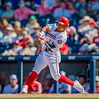 2 March 2019: Washington Nationals infielder Wilmer Difo connects during a Spring Training game against the Minnesota Twins at the Ballpark of the Palm Beaches in West Palm Beach, Florida. The Nationals defeated the Twins 10-6 in Grapefruit League play. Mandatory Credit: Ed Wolfstein Photo *** RAW (NEF) Image File Available ***