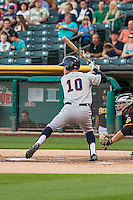 Patrick Brady (10) of the Tacoma Rainiers at bat against the Salt Lake Bees in Pacific Coast League action at Smith's Ballpark on August 31, 2015 in Salt Lake City, Utah. Salt Lake defeated Tacoma 6-5.  (Stephen Smith/Four Seam Images)
