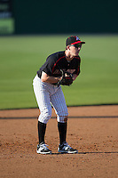 Kannapolis Intimidators third baseman Toby Thomas (5) on defense against the West Virginia Power at CMC-Northeast Stadium on April 21, 2015 in Kannapolis, North Carolina.  The Power defeated the Intimidators 5-3 in game one of a double-header.  (Brian Westerholt/Four Seam Images)