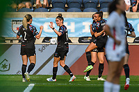 BRIDGEVIEW, IL - JULY 18: Chicago Red Stars celebrate an OL Reign own goal during a game between OL Reign and Chicago Red Stars at SeatGeek Stadium on July 18, 2021 in Bridgeview, Illinois.