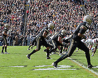 Purdue offense at the line of scrimmage. The Purdue Boilermakers defeated the Ohio State Buckeyes 26-18 at Ross-Ade Stadium, West Lafayette, Indiana on October 17, 2009..