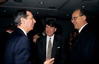 FILE PHOTO -  Daniel Johnson (L), Jean-Paul Gobe (M) and Yvon Charbonneau (R) in March 1993.<br /> <br /> Photo : Pierre Roussel - Agence Quebec Presse<br /> <br /> <br /> <br /> <br /> <br /> <br /> <br /> <br /> <br /> <br /> .