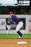 Binghamton Rumble Ponies shortstop Andres Gimenez (2) throws to first base during a game against the Portland Sea Dogs on August 31, 2018 at NYSEG Stadium in Binghamton, New York.  Portland defeated Binghamton 4-1.  (Mike Janes/Four Seam Images)