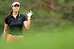 USA Michelle Wie waves to the crowd on the 7th green at the LPGA Championship 2011 Sponsored By Wegmans at Locust Hill Country Club in Rochester, New York on June 26, 2011