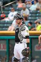 Jett Bandy (27) of the Salt Lake Bees during the game against the Albuquerque Isotopes in Pacific Coast League action at Smith's Ballpark on June 8, 2015 in Salt Lake City, Utah.  (Stephen Smith/Four Seam Images)