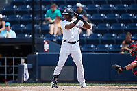 Socrates Brito (7) of the Scranton/Wilkes-Barre RailRiders at bat against the Rochester Red Wings at PNC Field on July 25, 2021 in Moosic, Pennsylvania. (Brian Westerholt/Four Seam Images)