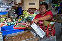Yogyakarta, Java, Indonesia.  Maggots Sold by the Bagfull as Bird Food,  Bird Market.