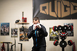 © Joel Goodman - 07973 332324 - all rights reserved . No syndication, onward sale or transfer permitted . 18/04/2016 . Bury , UK . Boxer SCOTT QUIGG at his gym in Bury . Photo credit : Joel Goodman