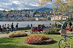 Switzerland, Ticino, Lugano: view from Parco Civico towards Lugano Old Town   Schweiz, Tessin, Lugano: vom Parco Civico hat man einen schoenen Blick auf die Stadt