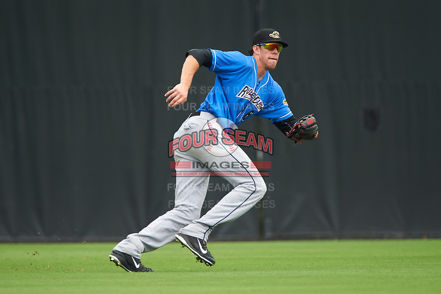 Akron RubberDucks center fielder Bradley Zimmer (6) during the first game of a doubleheader against the Bowie Baysox on June 5, 2016 at Prince George's Stadium in Bowie, Maryland.  Bowie defeated Akron 6-0.  (Mike Janes/Four Seam Images)