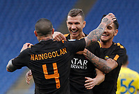 Roma s Edin Dzeko, center, celebrats his teammates Radja Nainggolan, left, and Lorenzo Pellegrini, after scoring his second goal during the Italian Serie A football match between Roma and Chievo Verona at Rome's Olympic stadium, 28 April 2018.<br /> UPDATE IMAGES PRESS/Riccardo De Luca