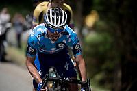 Polka Dot Jersey / KOM leader Julian Alaphilippe (FRA/Deceuninck - Quick-Step) on the attack<br /> <br /> Stage 7: Saint-Genix-les-Villages to Pipay  (133km)<br /> 71st Critérium du Dauphiné 2019 (2.UWT)<br /> <br /> ©kramon