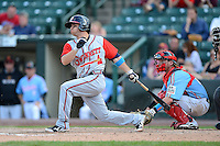 Gwinnett Braves shortstop Sean Kazmar #4 at bat in front of catcher Chris Herrmann #18 during a game against the Rochester Red Wings on June 16, 2013 at Frontier Field in Rochester, New York.  Rochester defeated Gwinnett 6-3.  (Mike Janes/Four Seam Images)