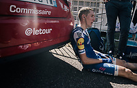 Daniel Martin (IRE/QuickStep Floors) finished a strong 2nd after Aru and is completely exhausted once behind the finish line<br /> <br /> 104th Tour de France 2017<br /> Stage 5 - Vittel › La Planche des Belles Filles (160km)