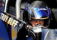 Jan 24, 2009; Chandler, AZ, USA; NHRA top fuel driver Troy Buff during testing at the National Time Trials at Firebird International Raceway. Mandatory Credit: Mark J. Rebilas-