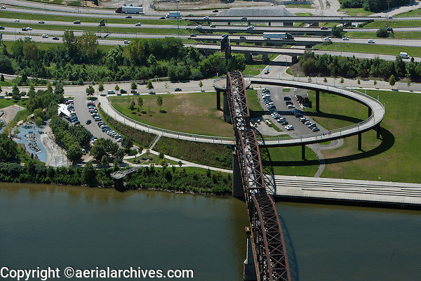 aerial photograph Louisville Riverwalk, Big Four bridge, Louisville, Kentucky
