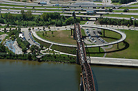 aerial photograph Louisville Riverwalk, Big Four bridge, Louisville, Kentucky
