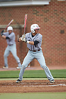Dominic Cuevas (6) of the North Carolina Central Eagles at bat against the High Point Panthers at Williard Stadium on February 28, 2017 in High Point, North Carolina. The Eagles defeated the Panthers 11-5. (Brian Westerholt/Four Seam Images)