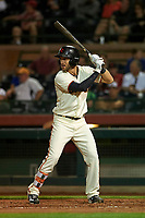 Scottsdale Scorpions center fielder Steven Duggar (1), of the San Francisco Giants organization, at bat during an Arizona Fall League game against the Peoria Javelinas on October 20, 2017 at Scottsdale Stadium in Scottsdale, Arizona. the Javelinas defeated the Scorpions 2-0. (Zachary Lucy/Four Seam Images)