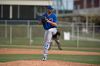Chicago Cubs relief pitcher Jake Stinnett (41) prepares to deliver a pitch to the plate during a Minor League Spring Training game against the Oakland Athletics at Sloan Park on March 13, 2018 in Mesa, Arizona. (Zachary Lucy/Four Seam Images)